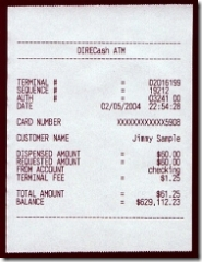 Fake ATM receipt example CLICK TO ENLARGE