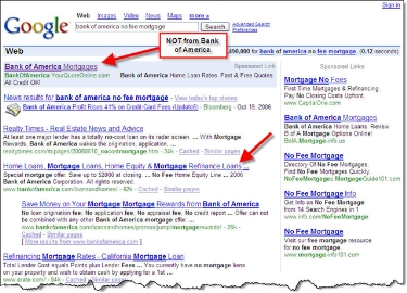 "Google search for ""Bank of America no fee mortgage"" CLICK TO ENLARGE"