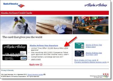 BofA landing page for myalaskacard.com