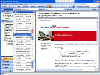 Bank of America email alert CLICK TO ENLARGE