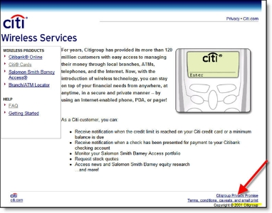 Citibank's 2001-era wireless services page CLICK TO ENLARGE