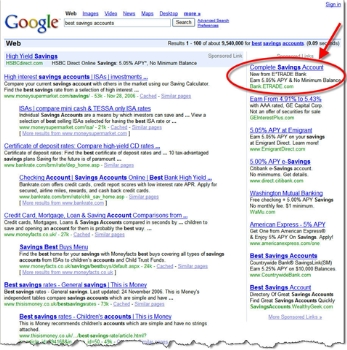 "Google search results for ""best savings rate"" CLICK TO ENLARGE"
