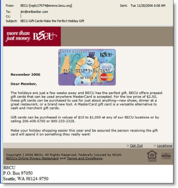 Boeing Employees Credit Union (BECU) email CLICK TO ENLARGE