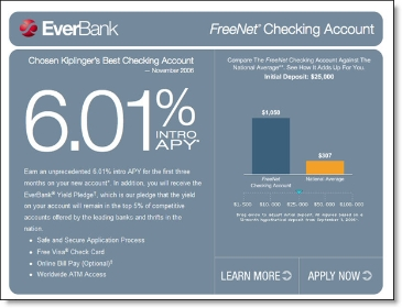 Everbank's FreeNet checking landing page CLICK TO ENLARGE