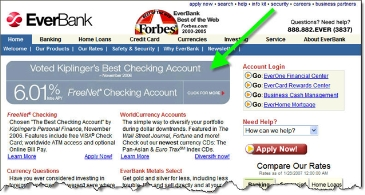 Everbank homepage with 6.01% FreeNet checking banner CLICK TO ENLARGE