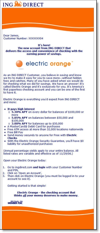 Email invitation for ING Direct's Electric Orange checking account CLICK TO ENLARGE