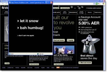 First Direct home page with holiday popup CLICK TO ENLARGE