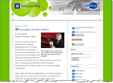 Front page of GM's Fastlane blog CLICK TO ENLARGE