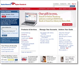 Bank of America holiday homepage after CLICK TO ENLARGE