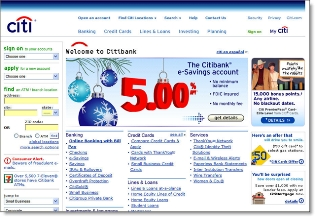 Citibank holiday homepage CLICK TO ENLARGE