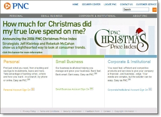 PNC Bank holiday homepage CLICK TO ENLARGE