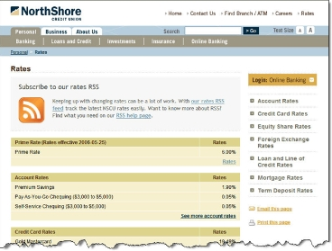 North Shore Credit Union RSS feed on rates page CLICK TO ENLARGE
