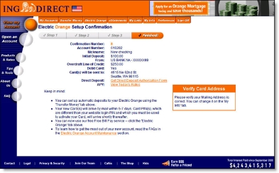 ING Direct Electric Orange confirmation screen CLICK TO ENLARGE