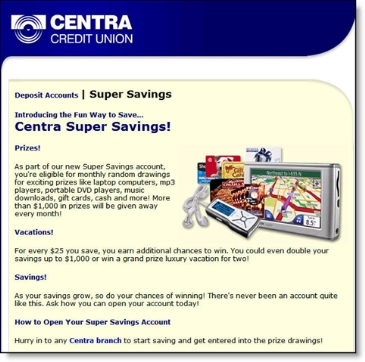 Centra Credit Union Super Savings landing page CLICK TO ENLARGE