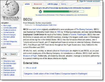 Wikipedia entry for BECU Boeing Employees Credit Union CLICK TO ENLARGE