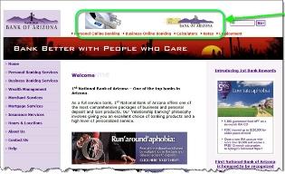Bank of Arizona homepage CLICK TO ENLARGE