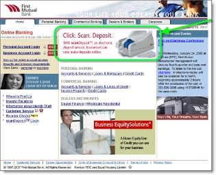 First Mutual Bank homepage CLICK TO ENLARGE