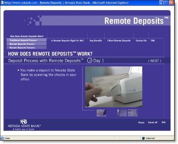 Nevada State Bank remote deposit demo CLICK TO ENLARGE