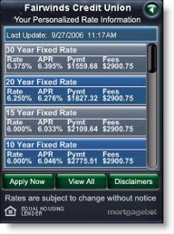 Mortgagebot widget for Fairwinds Credit Union