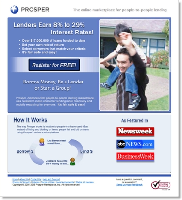 Landing page from Google ad
