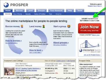 Prosper homepage with year-end numbers CLICK TO ENLARGE