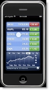 Apple iPhone stock-tracking widget CLICK TO ENLARGE