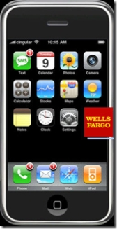 Apple iPhone mockup with Wells Fargo Bank logo CLICK TO ENLARGE