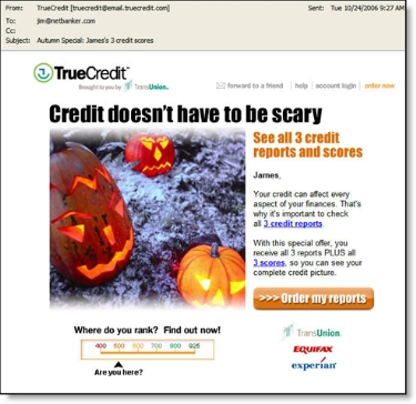 TrueCredit Oct. 24 email to ex-customers CLICK TO ENLARGE
