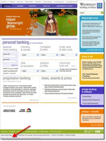 Wainwright Bank home page CLICK TO ENLARGE