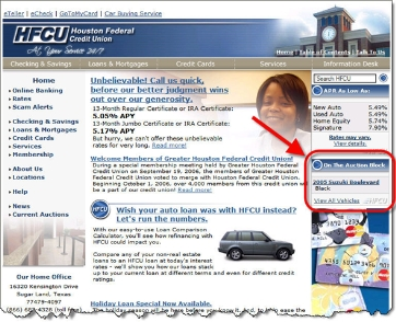 Houston Federal Credit Union homepage CLICK TO ENLARGE