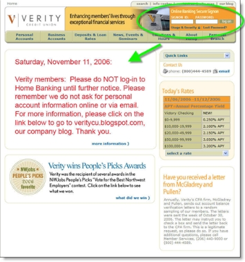 Verity CU home page with warning CLICK TO ENLARGE