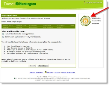 Direct Huntington online deposit application page 1