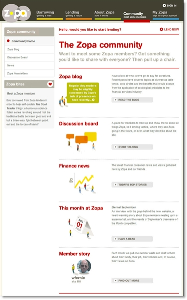 Zopa main community page CLICK TO ENLARGE
